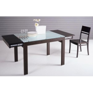 Extendable Wood & Glass Dining Table